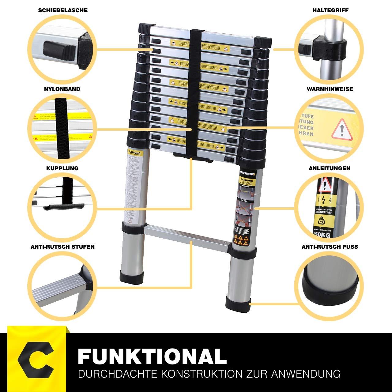 Tragetasche 4.4 Meter Black Edition Deutsche Qualit/ätsmarke Alu Leiter Trittleiter Craftfull Aluminium Teleskopleiter 2//2,6//2,9//3,2//3,8//4,1//4,4 Meter