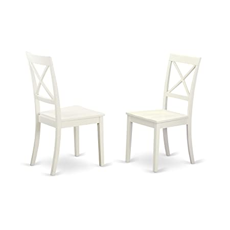 img buy East West Furniture BOC-WHI-W X-Back Chair Set for Dining Room with Wood Seat, Set of 2