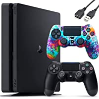 Sony PlayStation 4 PS4 1TB Slim Gaming Console - Controller (1x) Skin Holiday Bundle + Delca USB Extension