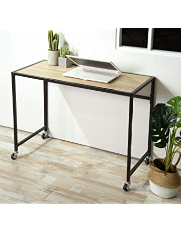 Office table furniture Black Aingoo Mobile Computer Desk Wheels 39inch Rolling Writing Table For Home Office Steel Frame Beige Olde Good Things Office Tables Amazoncom Office Furniture Lighting