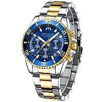 Herrenuhr Chronographen Armbanduhr Herren Edelstahl Wasserdicht Uhren fur Männer Großes Leuchtende Analog Datum