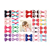 Munax 40 pcs 1.8  Baby Girls Ribbon Hair Bow Clips Printed Pattern Barrettes for Girl Teens Kids Babies Toddlers(20 Pairs)