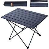 NiceC Folding Table, Portable Camping Table, Aluminum Collapsible Table top, Ultralight Compact with Carry Bag for Outdoor, B