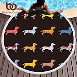 Beddingoutlet Dachshund Sausage Tassel Tapestry Round Beach Towel Cartoon Dog Pet Microfiber Toalla Picnic Blanket Yoga