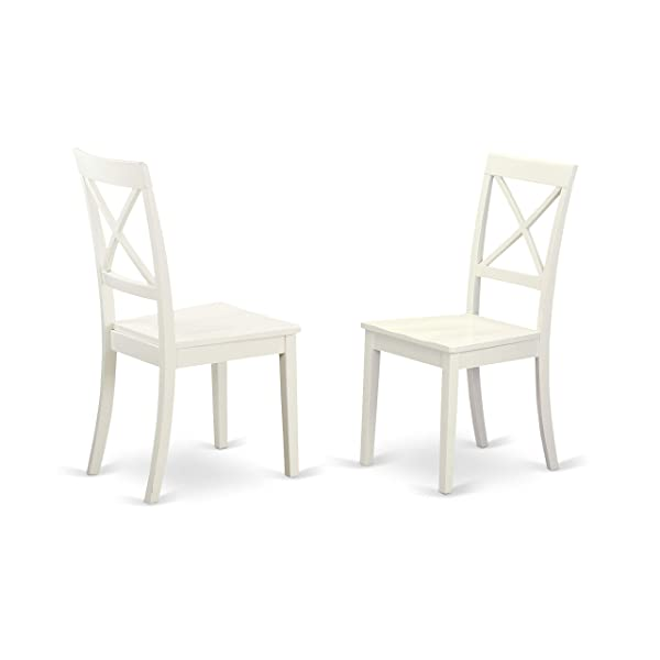 East West Furniture BOC-WHI-W X-Back Chair Set for Dining Room with Wood Seat, Set of 2