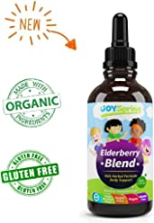Organic Elderberry Syrup for Kids - Best Natural Kids Cold Medicine, Pure Elderberry Blend for Sickness Relief, 3X Stronger Vegan & Sugar-Free Formula to Strengthen Immune System