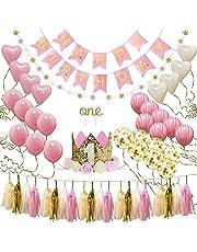 1st Birthday Girl Decorations, Aolvo Happy Birthday Decorations to Your Sweety Girl 1st Birthday Baby Princess Tiara Crown,Garlands, Ball, Card, Ribbon, Heart Balloons Garlands