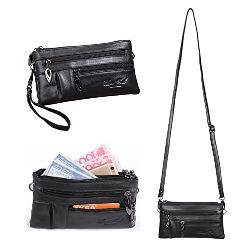 Small Genuine Leather Crossbody Purse for Women Handbags Multi Pocket Bag Cellphone Wristlet Wallet ...