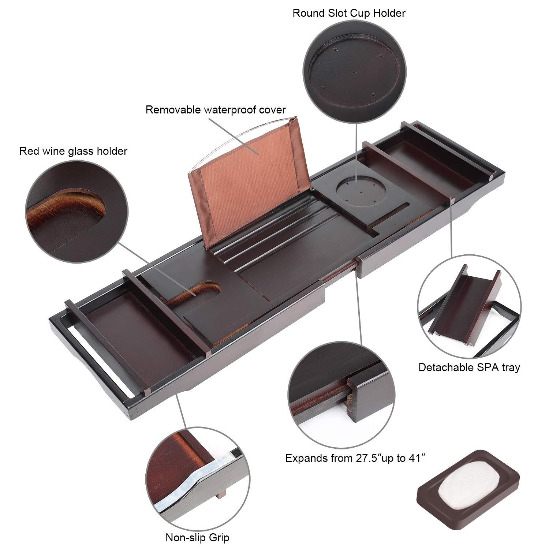Bamboo Luxury Bathtub Caddy, Bamboo Bath Tub Tray with Extending Sides, Shower Organizer by TDYNASTY DESIGN (Image #3)