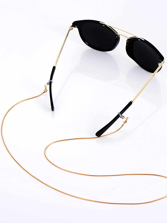63025bae091f56 Brillen Kette Brille Sonnenbrille Halter Gläser Schnüre Gurt Brillen Halter  79 cm Silbern und Golden mit 6 Stück Silikon Antirutsch Ringe: Amazon.de:  Sport ...