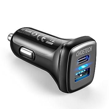 QC 3.0 Cargador de Coche CHOETECH 36W Doble Puertos Tipo C USB Cargador de Coche para Huawei P8/9/10,Xiaomi, iPhone 6/7/8/8 Plus/X,Samsung Note ...