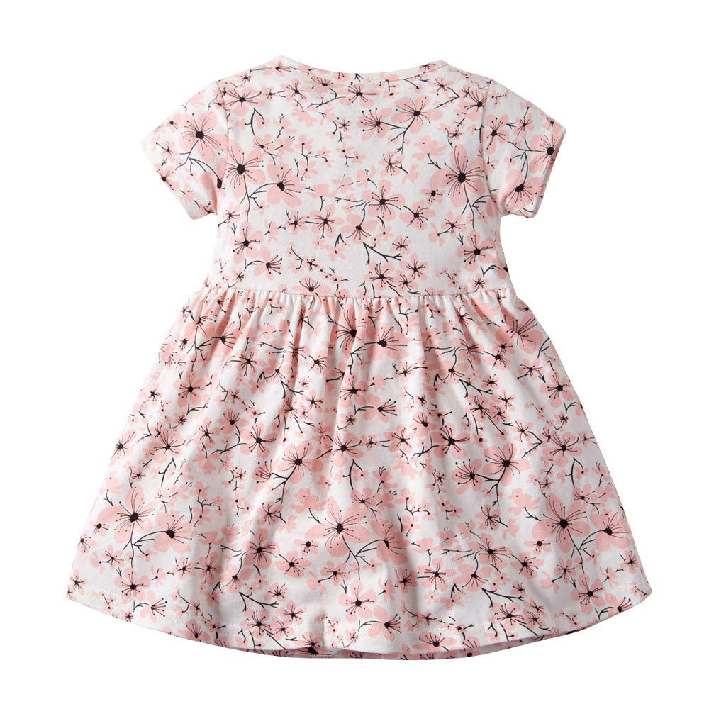 NUWFOR Toddler Kid Baby Girl Short Sleeve Floral Dress Princess Romper Dresses Clothes(Pink,9-12 Months) by NUWFOR (Image #1)