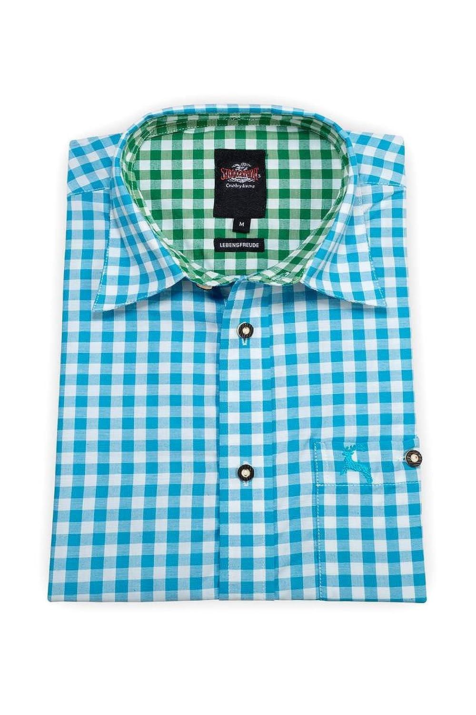 Stockerpoint Herren Trachtenhemd langarm türkis-grün karo 112204