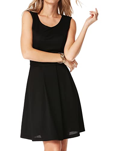 Meaneor Women's A-Line Sleeveless Round Neck Pleated Casual Cocktail Party Dress