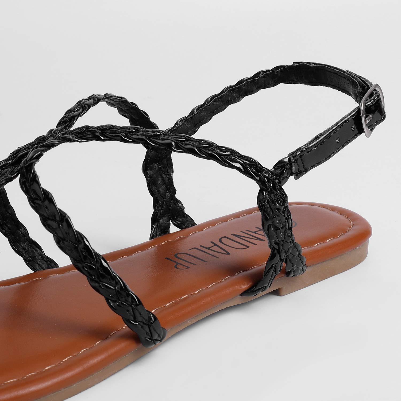 SANDALUP Damen Flache Sandalen mit Geflochtenem Riemen