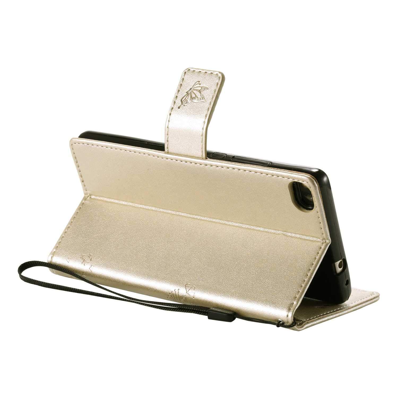 Coque Huawei P8 Huawei P8 Gaufrage Portefeuille Housse Coque #1 Noir Bear Village/® Magnetique /Étui en PU Cuir avec Fentes Carte de Cr/édit