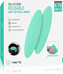 Silicone Reusable Air Fryer Liners - Round, Non-Stick Silicone Air Fryer Basket Mats Air Fryer Accessories for Ninja GoWise, InstaPot, Gourmia, Dash and More Ari Fryer, 2-Pack, BPA Free