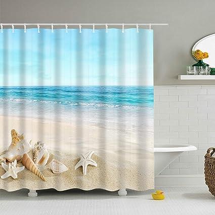 Sand Brown Sand Snowman Castle Crab Seashell on Tropical Beach Enjoying Sun Cartoon Print 60 x 72 Inch Cloth Fabric Bathroom Decor Set with Hooks DIMICA Children Shower Curtain