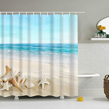 Beach Seashells Shower Curtain Seashell Starfish Sand Under The Sea Blue Theme Mildew Resistant