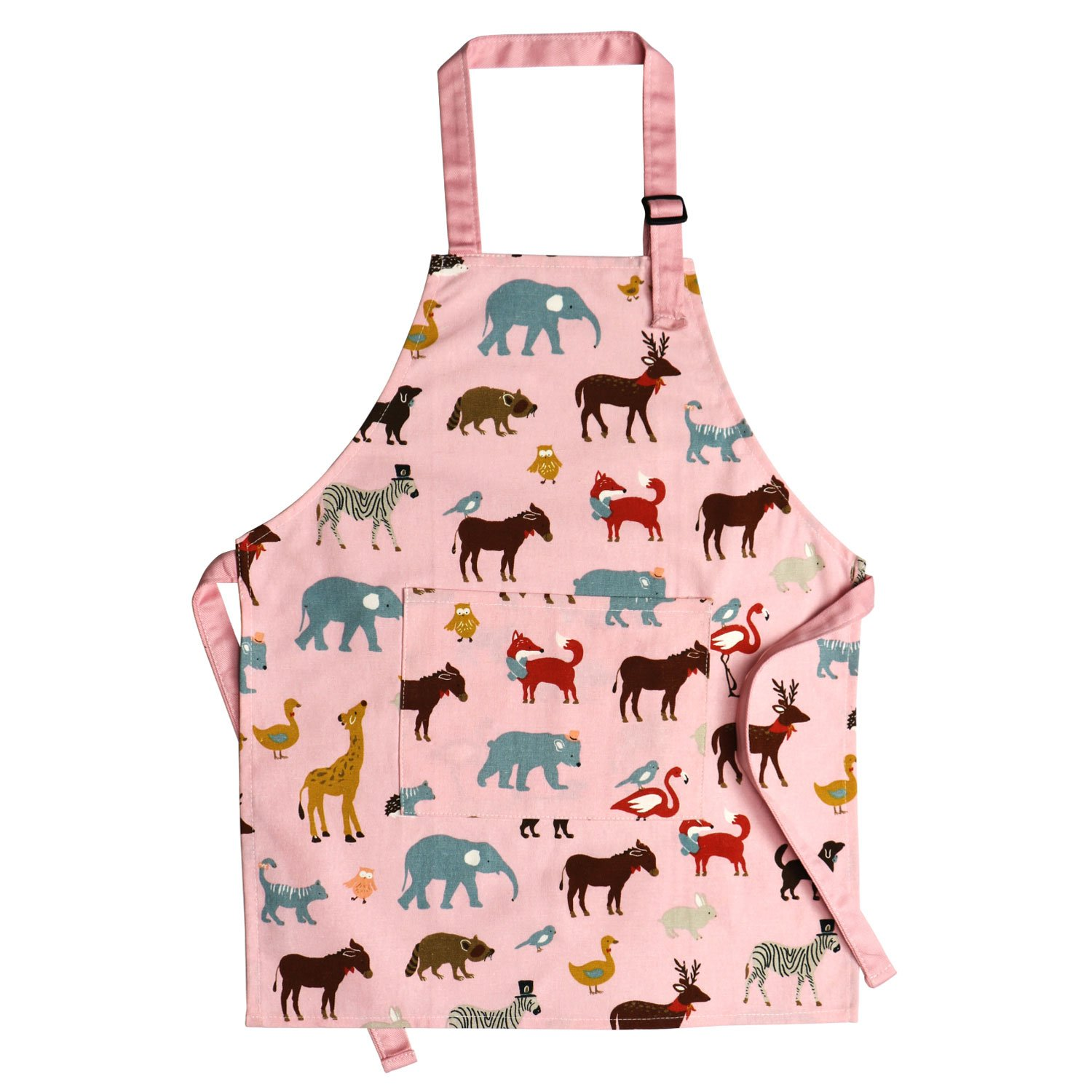 Jennice House Children's Aprons 100% Pure Cotton Canvas Kids Artists Aprons with Adjustable Neck Strap and Pocket Animal Print Child Chef Aprons for Boys and Girls