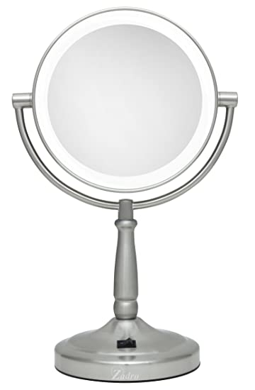 Zadro cordless dual sided led lighted vanity mirror satin nickel