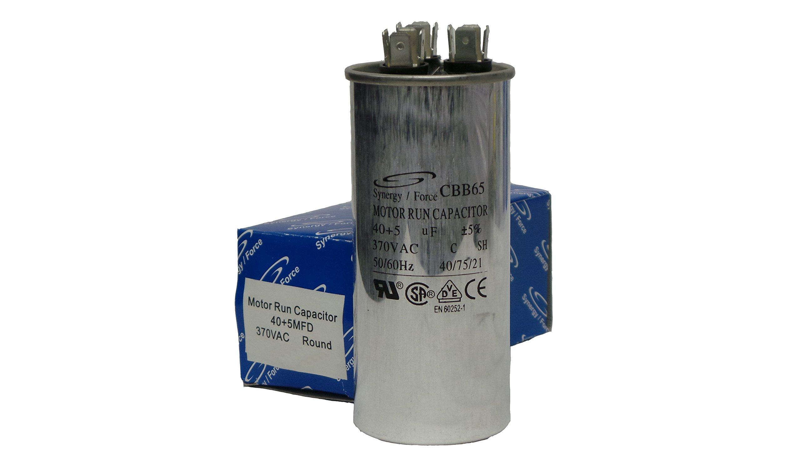 CBB65 Motor Run Capacitor, 40+5 uF +5%, 370VAC, 50/60Hz, 40/75/21, RU CSA VDE CE Certified