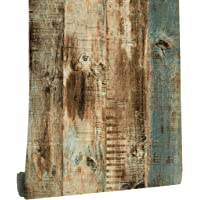 """Distressed Peel and Stick Wood Wallpaper 3D Textured for Furniture Bedroom Easy to Apply 17.7"""" X 118"""""""