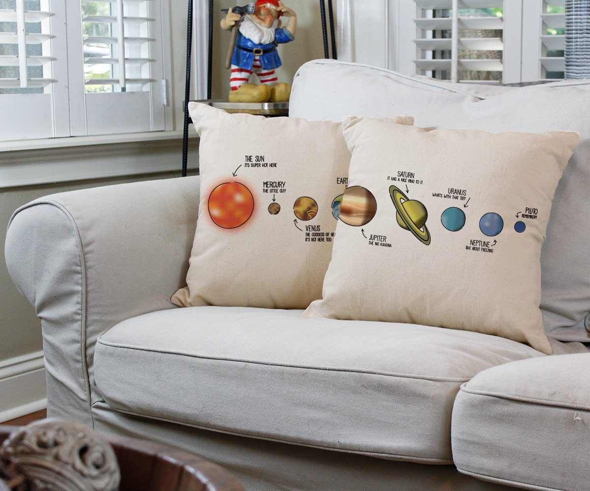 Set of 2 RoomCraft Outer Space Solar System Throw Pillow Covers 14x14 Square Natural Cotton Astronomy Shams