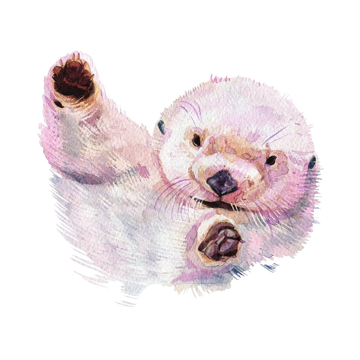 Sea Otter Home Wall Shelf Decor Animal Decorations Watercolor Square Sign - Inch, Metal, 12x12