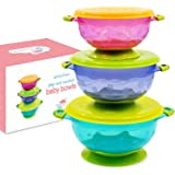Baby Bowls with Suction - Suction Bowl for Toddlers, Set of 3 Stackable Feeding Bowls with Spill-Proof Lids