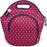 LunchFox Insulated Neoprene Lunch Bag Tote for Women, Teen Girls, Pink/Red - The Melrose