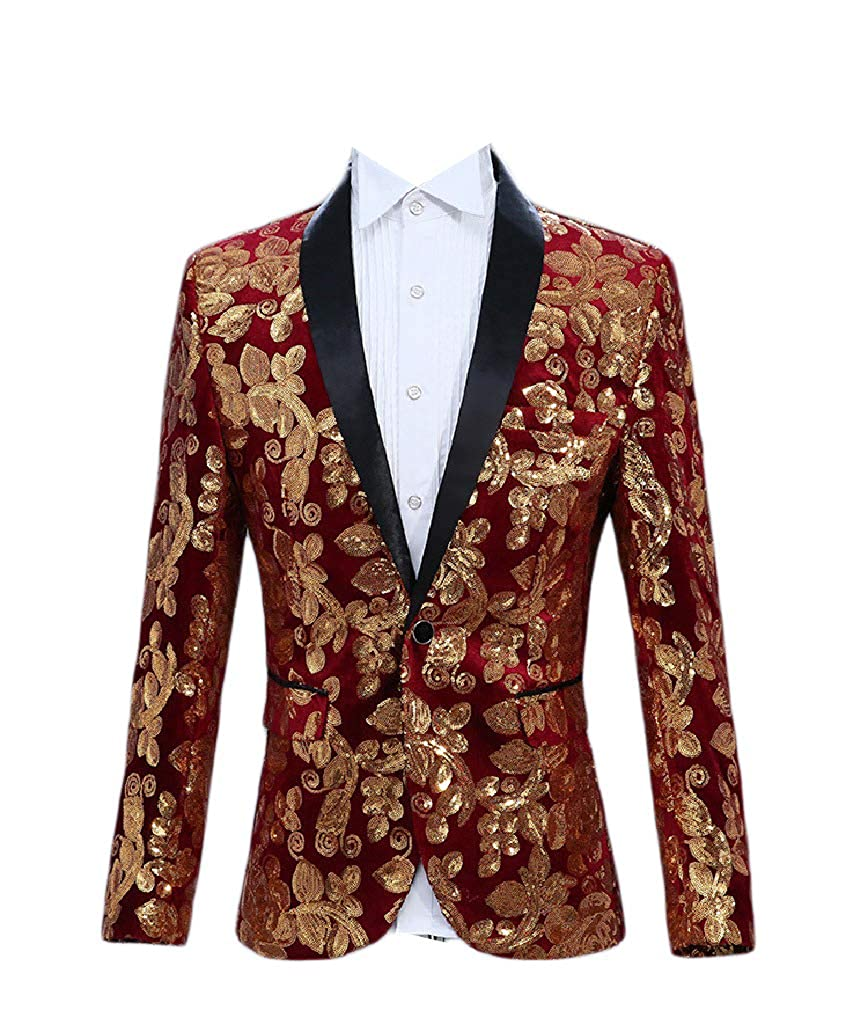 Zimaes-Men Party Wedding Sequin Premium Single Button Suit Jacket Blazer