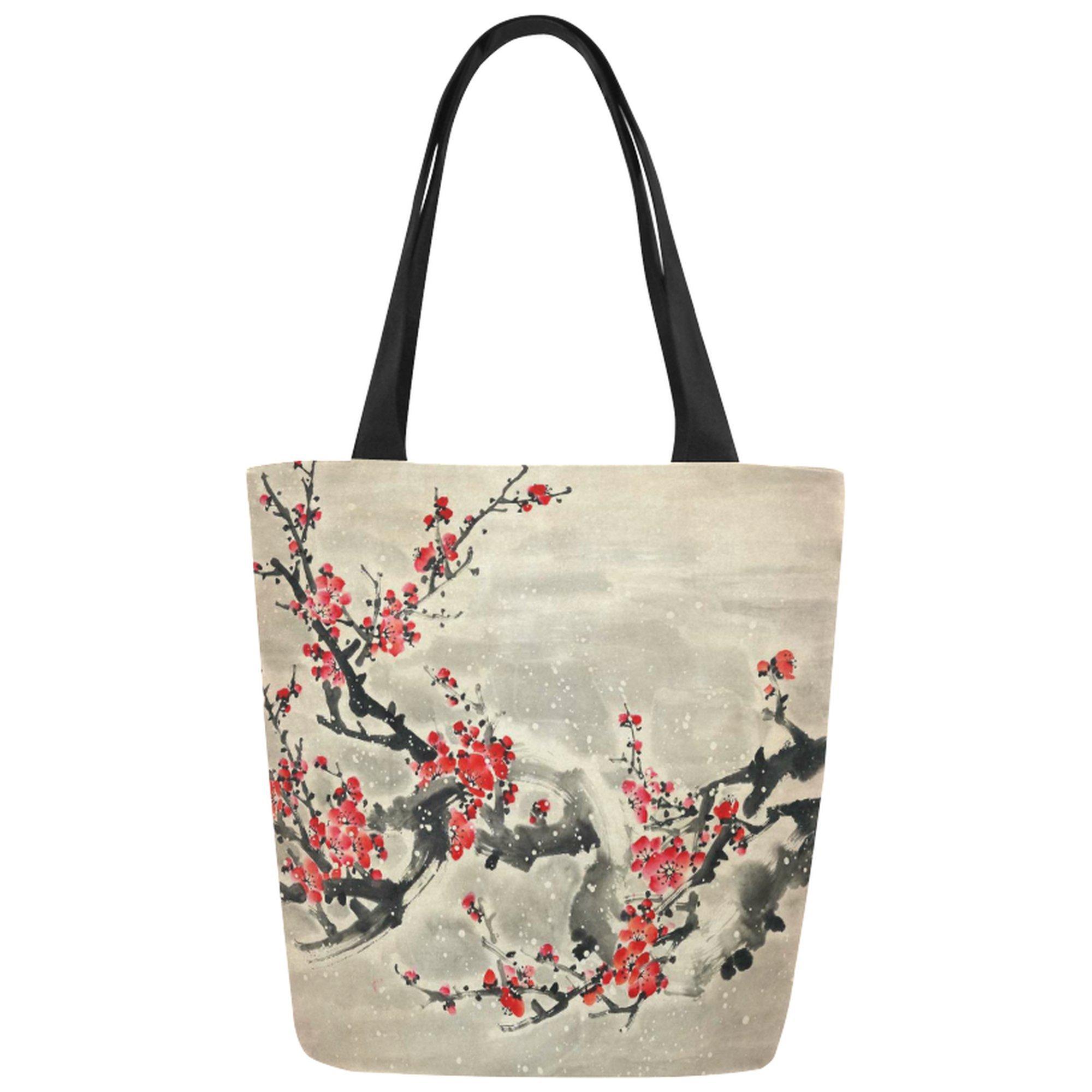 InterestPrint Vintage Plum Blossom Canvas Tote Bag Shoulder Handbag for Women Girls by InterestPrint
