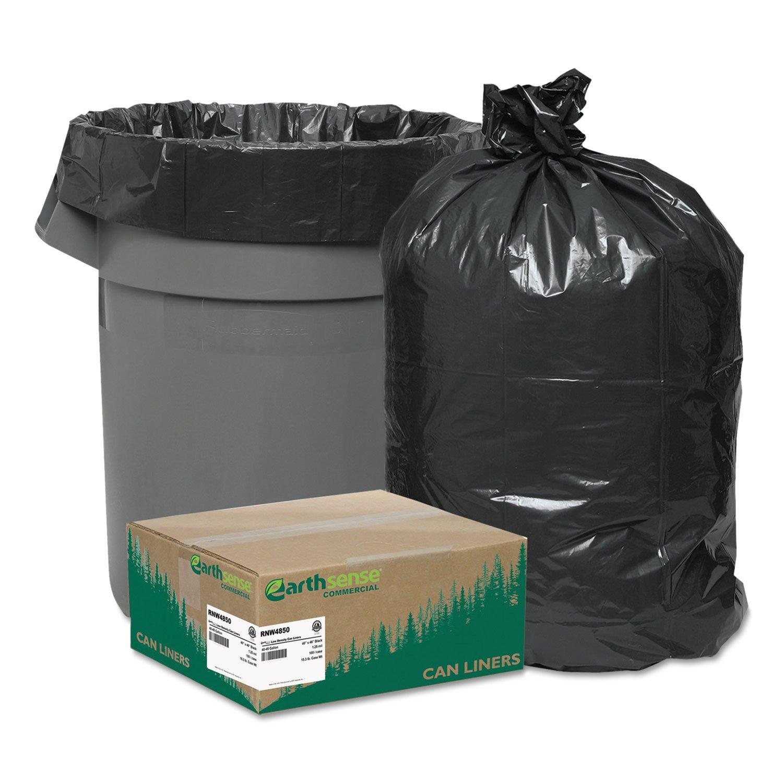 ReClaim Can Liners, 40-45 gallon, 1.25mil, 40 x 46, Black, 100/carton