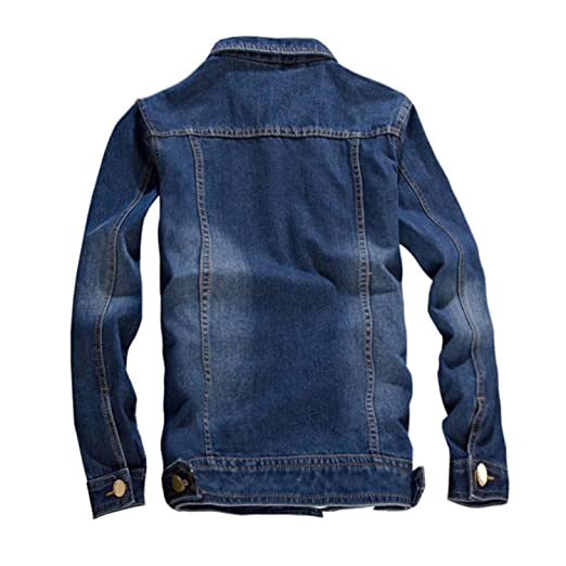 Feroni Casual Slim Fit Mens Denim Baseball Jacket Men Long Sleeve Mens Cowboy Outwear Jean Jacket Chaqueta Hombre Blue XXL at Amazon Mens Clothing store: