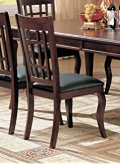 Set Of 2 Dining Chairs Black Leather Like Rich Cherry Finish