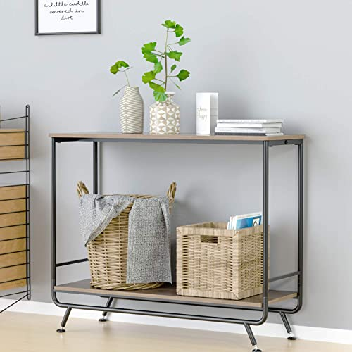 HOMECHO Farmhouse Industrial Console Table, 2-Tier Vintage Sofa Console Hallway Entryway Table with Storage Shelf, Sturdy Metal Frame, Easy Assembly, for Living Room Home Office, Rustic Brown