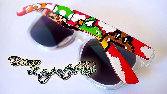 657fa91130 Gafas de sol personalizadas customizadas Retro pintadas a mano Super Mario.  Zelda, Pokemon -