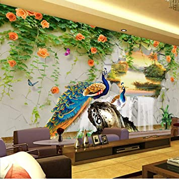 Amazon Com Xbwy Custom Photo Wallpaper 3d Stereo Peacock Pastoral Wall Painting Living Room Tv Sofa Classic Background Wall Mural 3d 400x280cm Furniture Decor