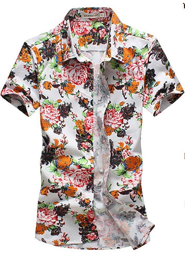 QZUnique Mens Summer Short Sleeve Button Down Casual Print Shirt