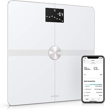 Withings Body+ Báscula inteligente con conexión Wi-Fi, medición de la grasa corporal, IMC, masa muscular y porcentaje de agua corporal, sincronización con la aplicación móvil por Bluetooth o Wi-Fi: Amazon.es: Salud y