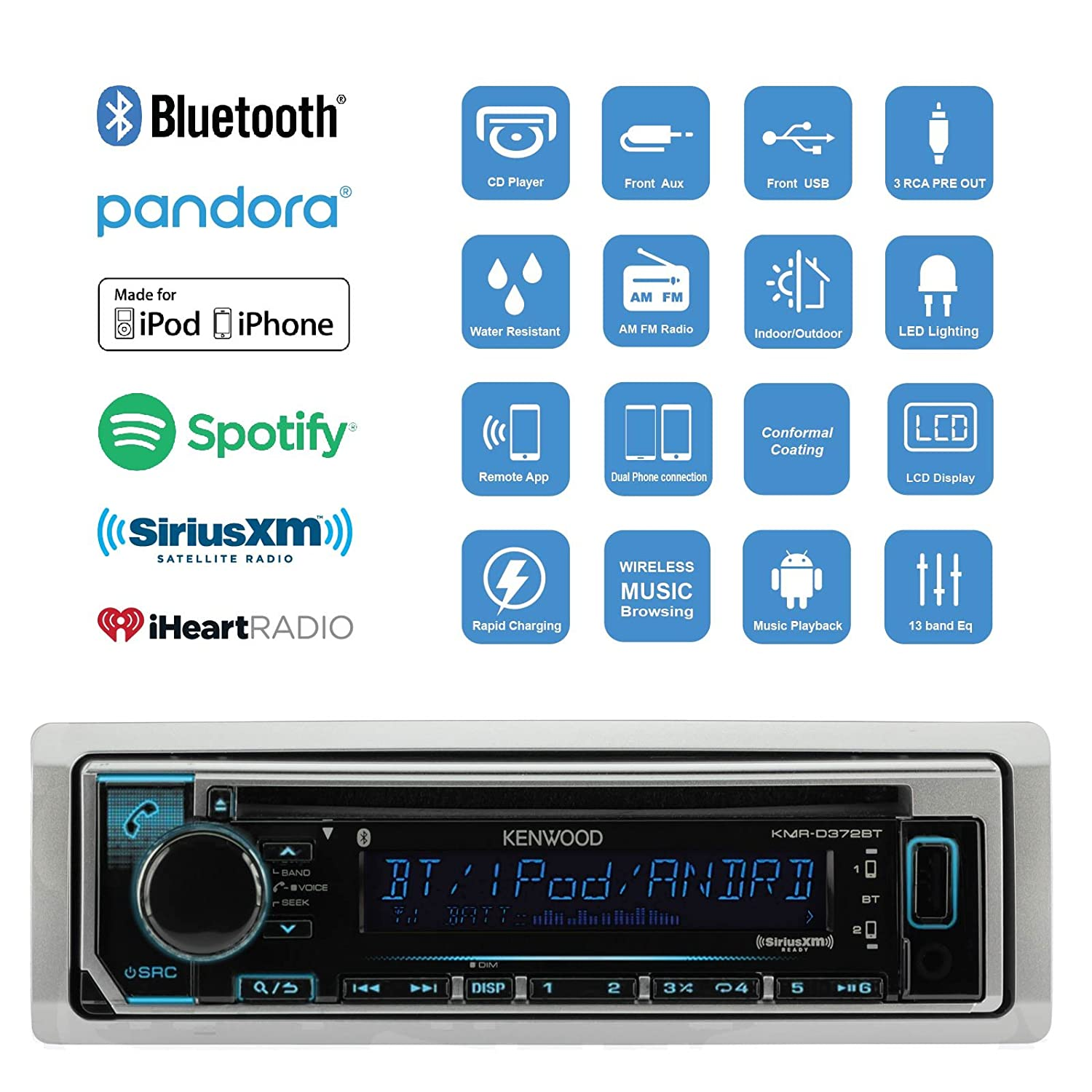 Amazon.com: Great New Kenwood Marine Boat Yacht Outdoor Bluetooth ...