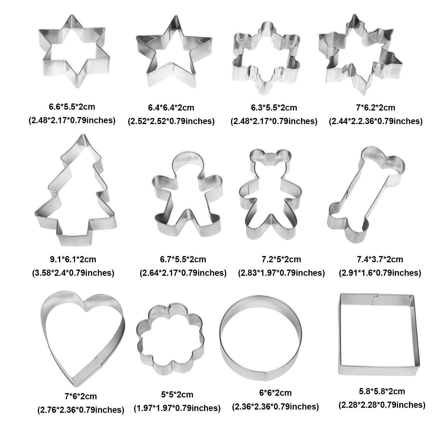 Heart Flower Bone Round Snowflake Square Shapes Stainless Steel Biscuit Cutters Sugarcraft /& Cake Decoration Icing Cookie Mould for Cookies esafio Set of 12 Cookie Cutters