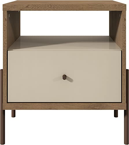 Manhattan Comfort Joy Series Modern 1-Drawer Bedroom Nightstand, Off-White