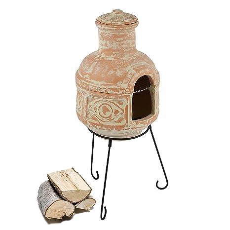 Blumfeldt Montezuma Chimenea mexicana exterior (Calentador de barro, base de metal 78x36 cm (