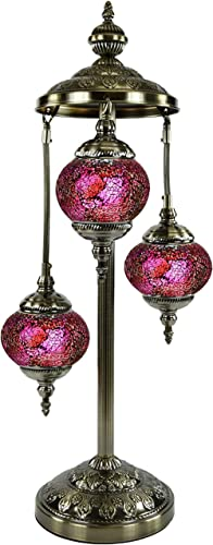 SILVERFEVER Moroccan Lamps Mosaic Turkish Lamp Colorful Handmade Glass Lanterns 30 Tall- E 12 Light Bulbs Enclosed Deep Pink