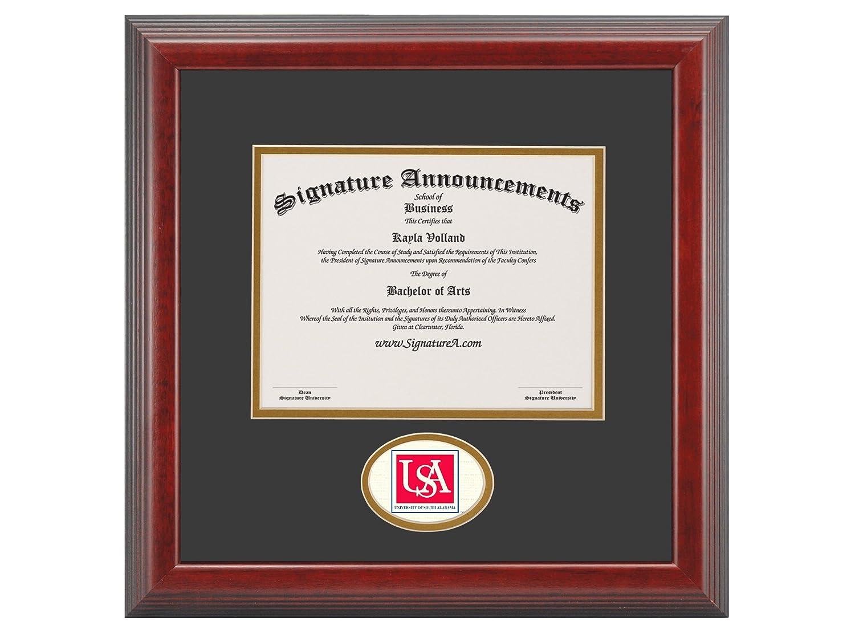 Professional//Doctor Sculpted Foil Seal Graduation Diploma Frame 16 x 16 Cherry Signature Announcements University-of-South-Alabama Undergraduate