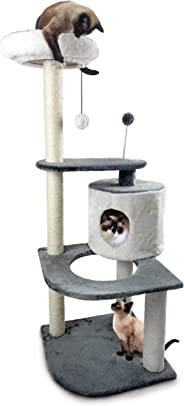 Fur Haven Tiger Tough Round House Corner Playground Cat Furniture Tree, Gray and White, Large