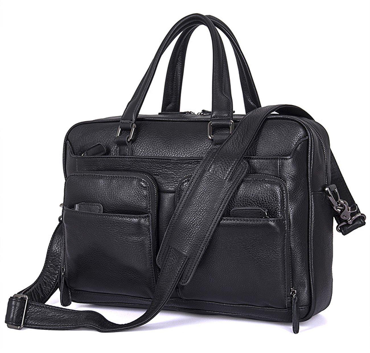 Berchirly Men Black Real Leather Messenger Bag Multicompartment Travel Shoulder Bag Briefcase