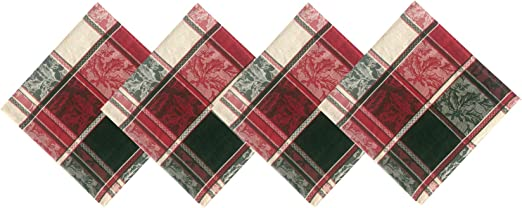 OVAL TABLECLOTH RUSTIC CHRISTMAS CABIN PINE HOLLY GREEN IVORY RED
